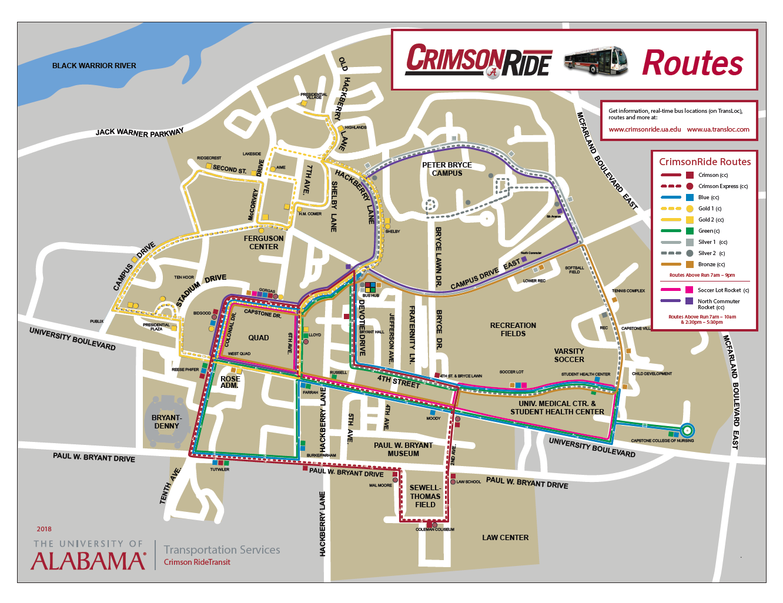 Bus Routes Crimson Ride The University Of Alabama